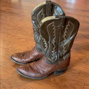 Tony Lama Cowboy Boots 9.5 Lizard